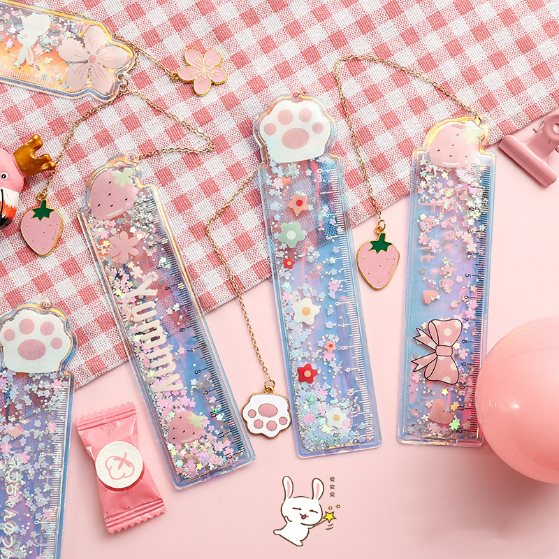 Kawaii Cherry Blossoms Cat Bookmark Ruler Pendant Cute PVC Glitter Book Mark Stationery School Office Supply Escolar Papelaria