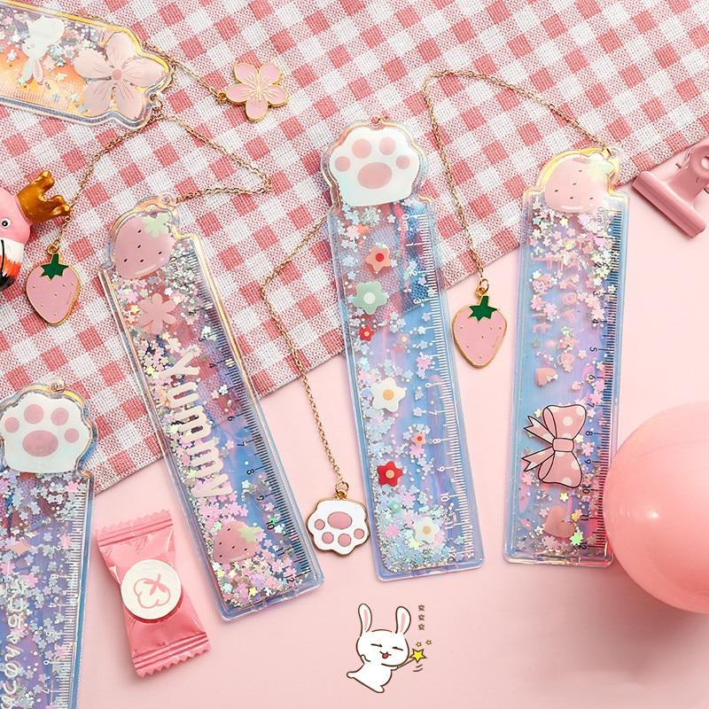 Kawaii Cherry blossoms cat Bookmark Ruler Pendant cute PVC Glitter Book mark Stationery School Office Supply Escolar Papelaria| | - AliExpress