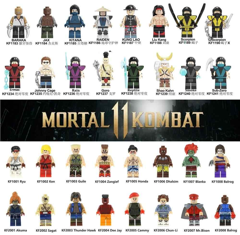 Building Blocks Mortal Kombat Sub-Zero Johnny Cage Street Akuma Baraka Smoke Rain Figures Toys for Kids KF6102 KF6094 KF8016