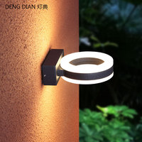 Modern round wall light LED Aluminum wall lamps up and down white Waterproof corridor porch lights hallway outdoor lighting 14W