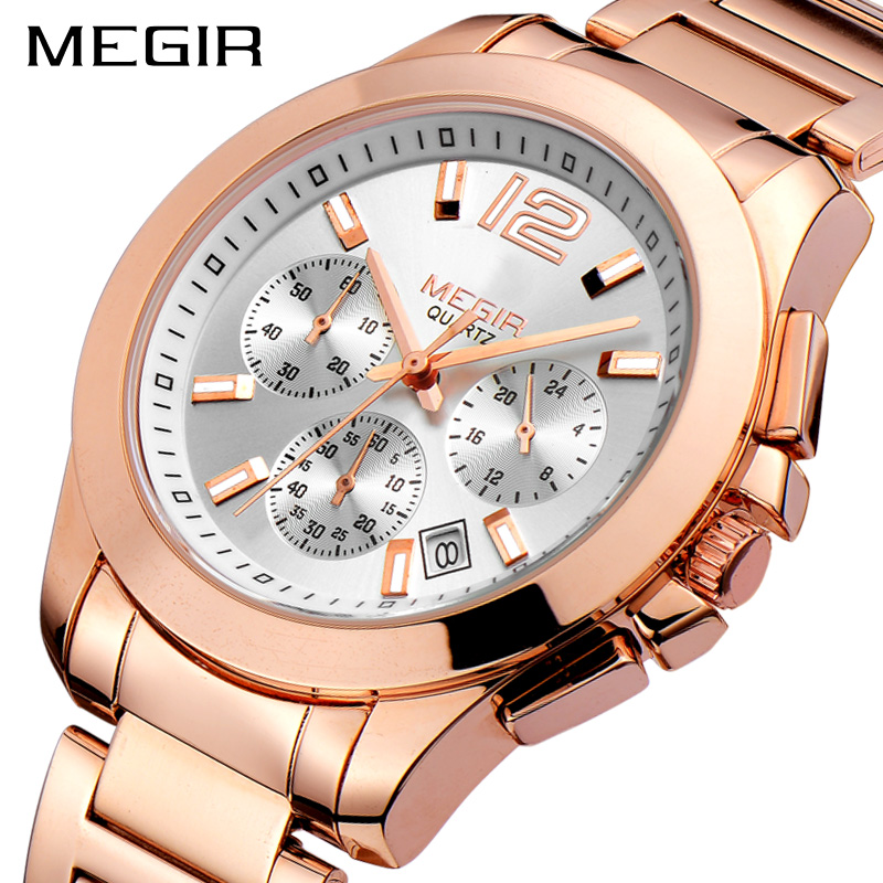 Creative MEGIR Sport Watch Men Top Brand Luxury Rose Gold Chronograph Quartz Men Military Wrist Watches Clock Relogio Masculino