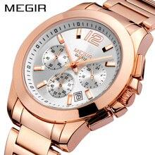Креативные спортивные часы MEGIR, мужские лучшие брендовые Роскошные Кварцевые часы с хронографом из розового золота, мужские наручные часы в стиле милитари, Relogio Masculino