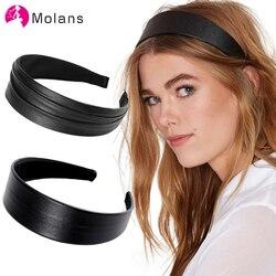 Molans nowe pomarszczone Faux skórzane opaski prosta w jednolitym kolorze PU skórzane damskie opaski moda granatowe czarne szerokie opaski do włosów nakrycia głowy