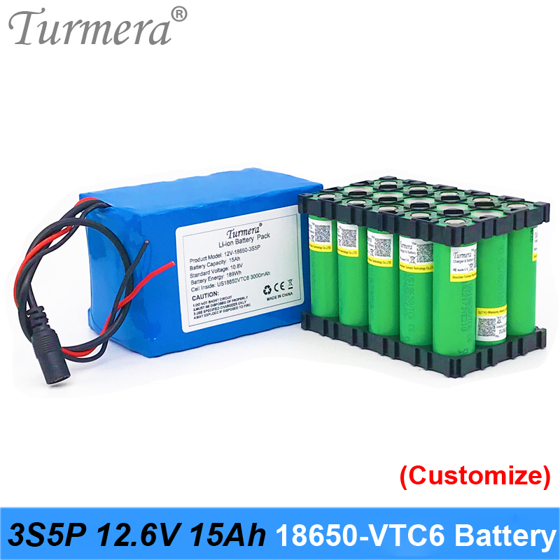 Turmera <font><b>12V</b></font> <font><b>15Ah</b></font> 3S5P VTC6 3000mAh <font><b>battery</b></font> with 40A BMS for uninterrupted power supply <font><b>12V</b></font> Rechargeable <font><b>Lithium</b></font> <font><b>Battery</b></font> Pack Use image