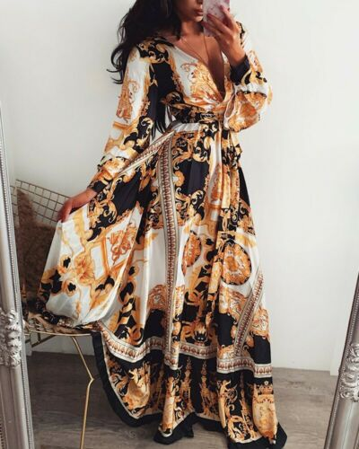Dress Long-Sleeve Floral Sexy Beach Women Summer Ladies Maxi Holiday Female New-Arrivals