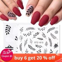 Adesivo de manicure com folha preta e branca, flor decalque à prova dágua para decoração, acessórios de manicure para tatuagem, 1 folha, LASTZ808 815 1