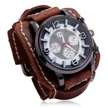 Jessingshow 2020 New Retro Mens Watches Leather Chronograph Sport Fashion Punk Style Quartz Watch For Men Relogio Masculino