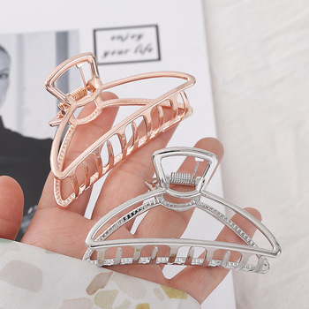 1 PC Geometric Hairclips for Women Stylish Gold Silver Metal Hairband Ponytail Holder Girls Hair Claws for Wedding Party stylish heart geometric bracelet for women