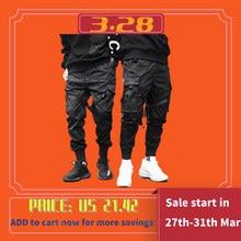 2020 Men's Casual Black Pocket Cargo Pants Harem Jogger Harajuku Sports Pants Hip Hop Beaded Trousers стоимость
