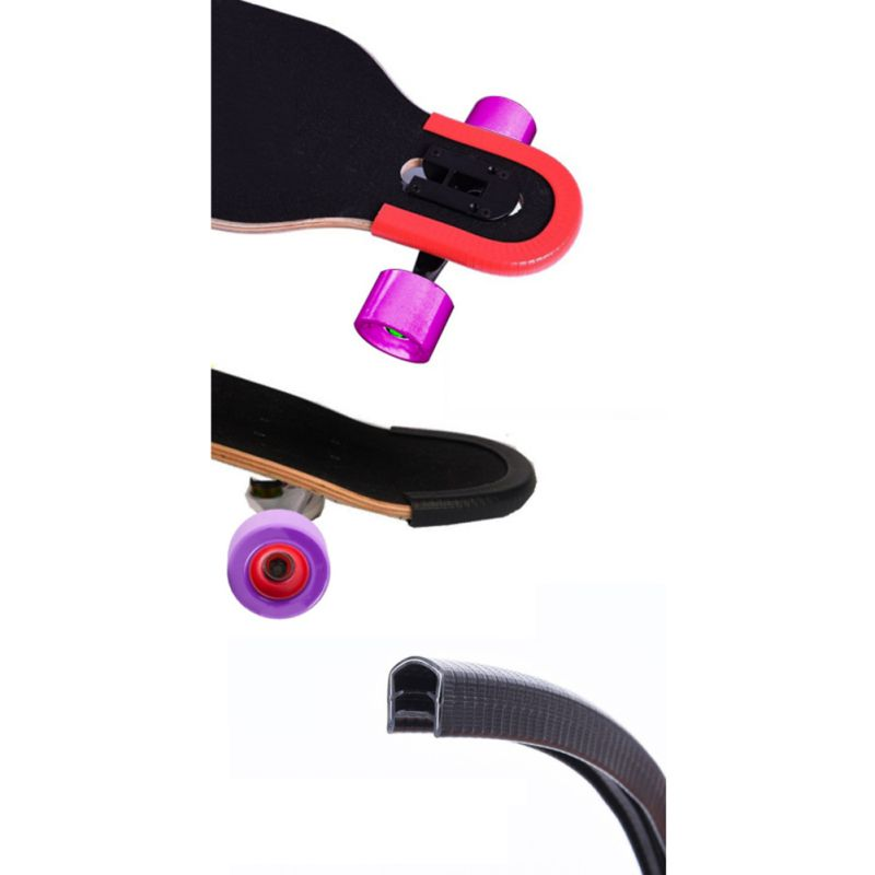 Skateboard Deck Guards Strips Longboard Edge Protector Rubber Bump Board Double Rocker Board  Bumper Cover Accessories 2pcs/set