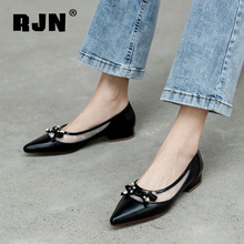 RJN 2020 New Flat Shoes Fashion Bow Crystal Decoration Patchwork Mesh Women Flat Shoes Outdoor Pointed Casual Flat Shoes RO488 cheap Basic Genuine Leather Cow Leather Slip-On Fits true to size take your normal size Sheepskin Butterfly-knot Spring Autumn