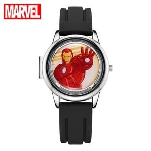 Image 1 - Marvel Avengers Super Hero Eisen Männer Kinder Quarz Wasserdichte Flip Uhr Kind Uhren Für Kid Studenten Uhr Junge Geschenk Drehbare