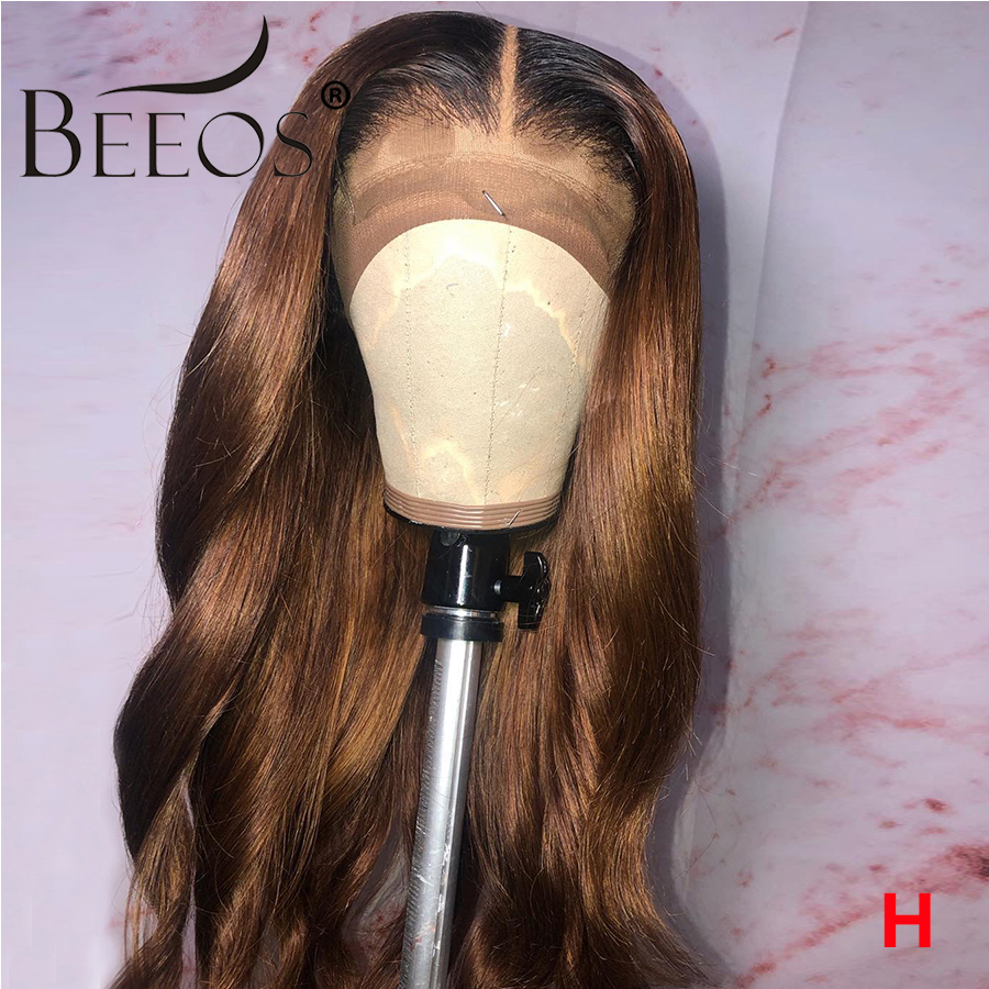 Beeos Ombre Colored 13*6  Lace Front Wigs Baby Hair Brazilian Remy Body Wave Wigs 150% Women 1b30 Human Hair Wig Bleached Knots