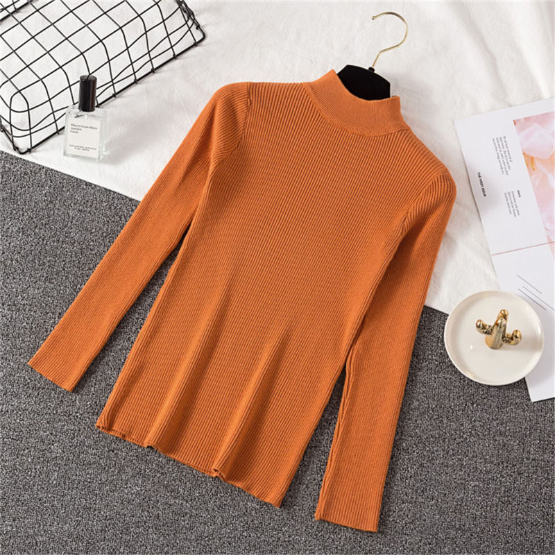 Autumn Winter Solid Half Turtleneck Slim Elastic Pullovers Sweaters Women Orange Bottoming Knitted Sweater Female Soft Jumper