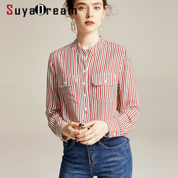 SuyaDream Women Striped Blouses 100% Silk Crepe Long Sleeved Two Pockets Stand Collar Office Blouse Shirt 2020 Spring Shirt