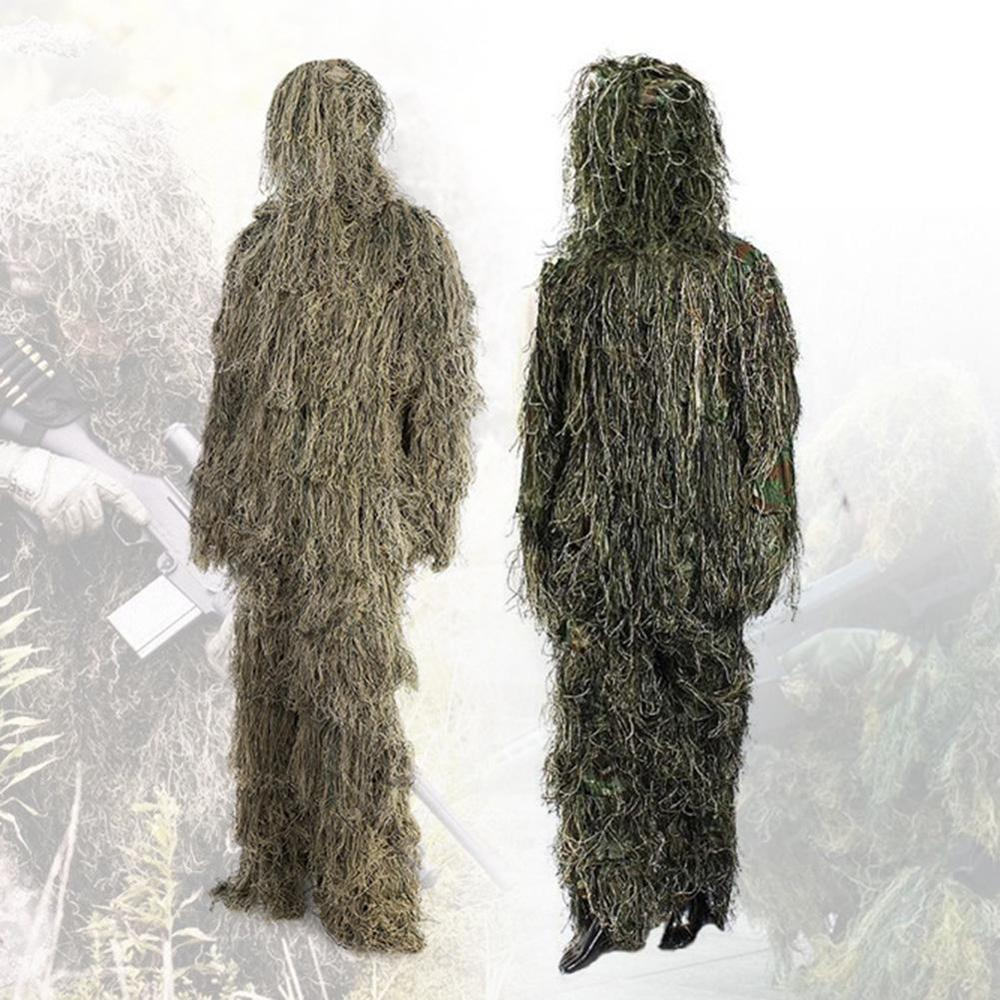 Hunting Ghillie Suit Camouflage Suits Set 3D Bionic Leaf Hunting Disguise Uniform <font><b>Jungle</b></font> Military Train Outdoor Hunting Clothes image