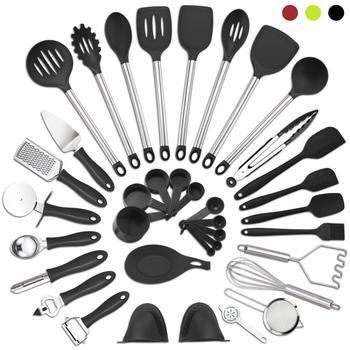 Набор кухонной утвари из 37 предметов, антипригарная лопатка из нейлона и нержавеющей стали