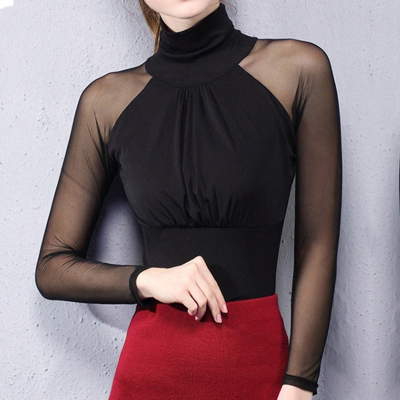 Women's Shirts Long Sleeve See Through Mesh Tops Blouse Turtleneck Folded Slim Plus Size Elegant Ladies Bottoming Shirts