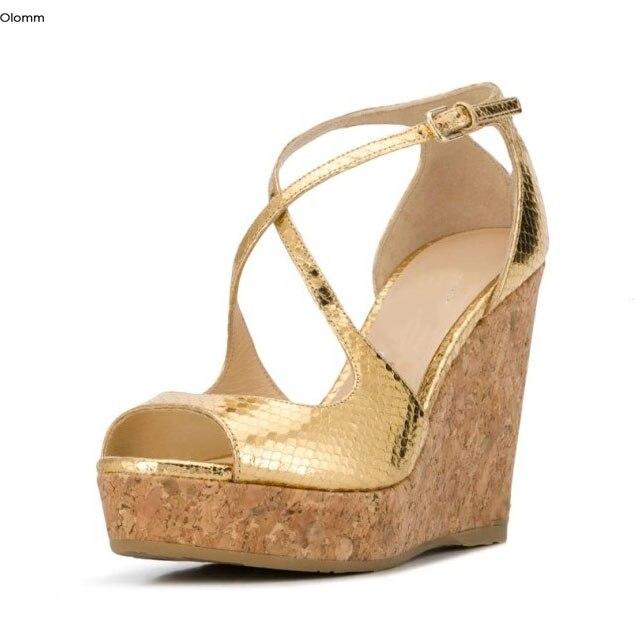 Olomm Handmade Women Platform Sandals Sexy Wedges High Heels Sandals Open Toe Gorgeous Gold Party Shoes Women US Plus Size 4-10