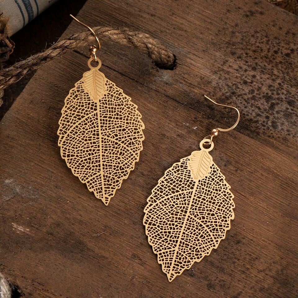 Multiple Vintage Boho Ethnic Dangle Drop Earrings for Women Female Fashion 2019 Golden Leaf Earrings Jewelry Accessories
