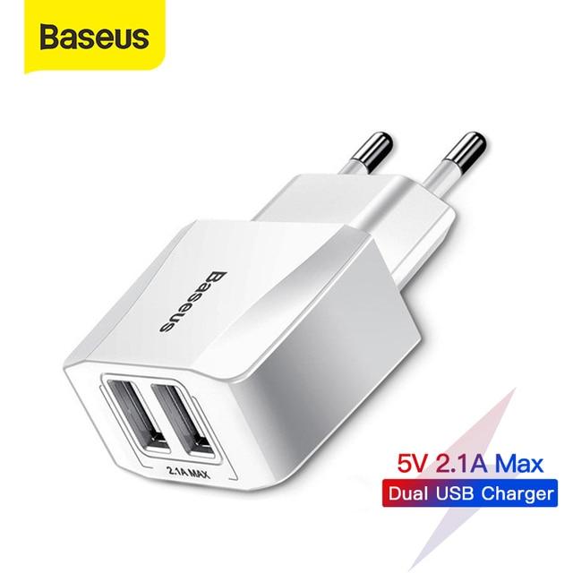 Baseus Dual USB Ladegerät EU Stecker 2,1 A Max Schnelle Lade Tragbare Telefon Ladegerät Mini Wand Adapter Ladegerät