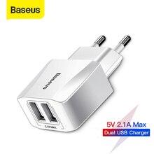 Baseus 듀얼 USB 충전기 EU 플러그 2.1A 최대 빠른 충전 휴대용 전화 충전기 미니 벽 어댑터 충전기