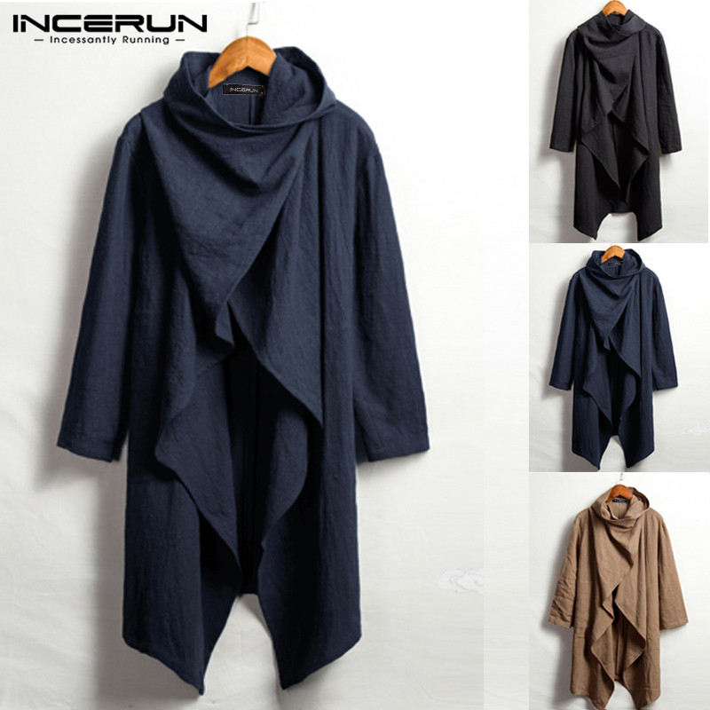 INCERUN Vintage Men Trench Coats Cotton Ponchos Turtleneck Long Sleeve Cloak Irregular Jackets Solid Streetwear Men Outwear 2020