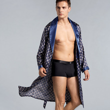 7XL Silk Bathrobe Soft Cozy Long Sleeve Sleep Tops Shorts Plus Size Robe Sets Men Pajamas Kimono Printed Robes Satin Sleepwear