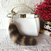 Real Raccoon Fur Stripe Tail Keychain 25cm Length Charms Women Handbag Pendant Pompom Key Rings Car Styling Tassel Key Chians