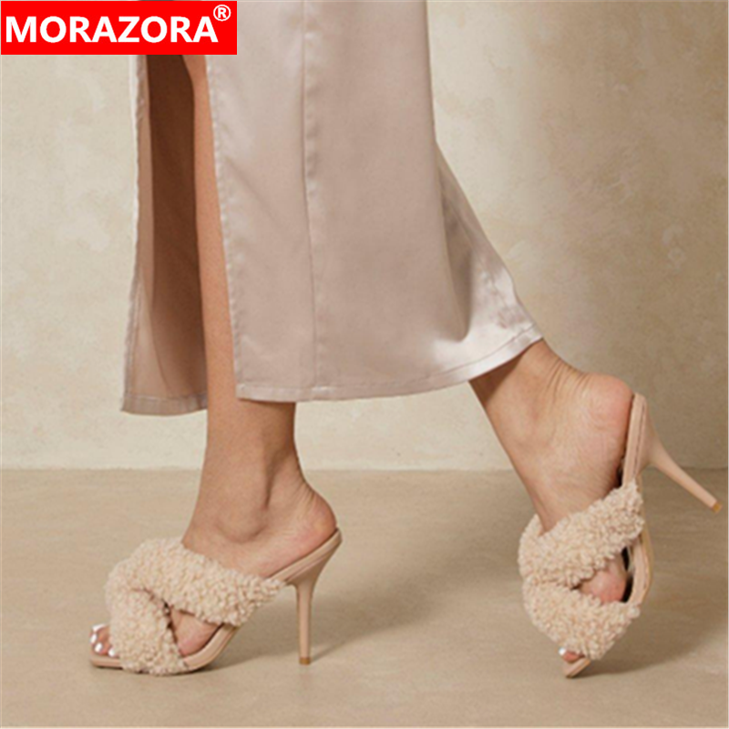 MORAZORA 2021 New Fashion Sexy Thin High Heels Ladies Sandals Party Nightclub Shoes Square Toe Solid Colors Women Sandals