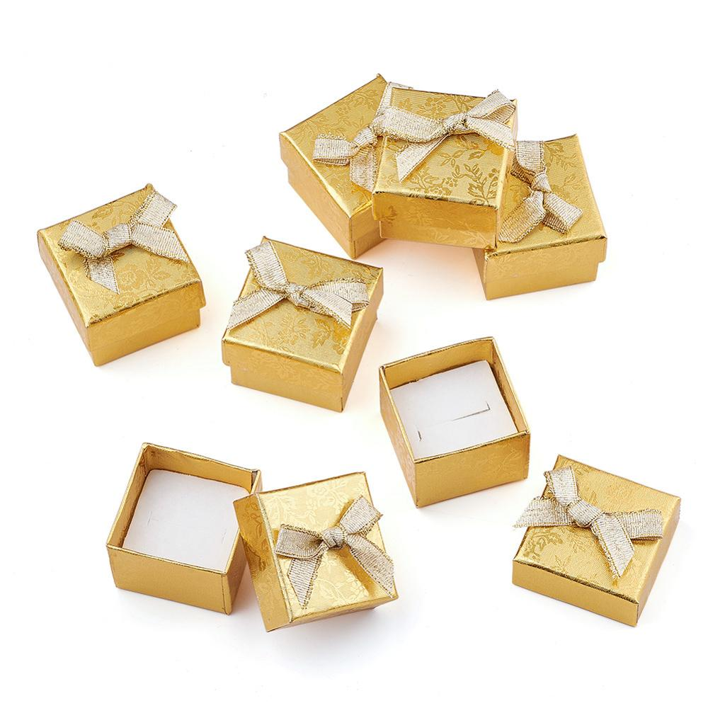 24pcs Square Cardboard Jewelry Ring Boxes Bowknot Valentines Day Gifts Packing Boxes With Sponge High Quality Gold Silver Color