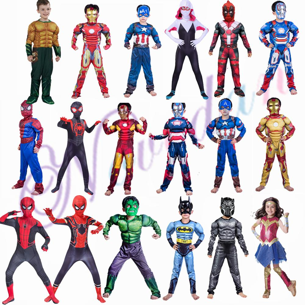 Superhero Kids Muscle Spiderman Suit Captain America Costume Avengers Child Cosplay Super Hero Halloween Costumes For Kids Boys