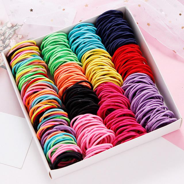 New 100PCS/Set Girls Candy Colors Nylon Elastic Rubber Band Fashion Hair Accessories 2