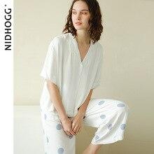 2020 wiosna proste satynowe spodnie z krótkim rękawem komplet piżamy niebieskie kropki drukowanie Pijama damskie luksusowe seksowne ubrania białe 2 sztuka
