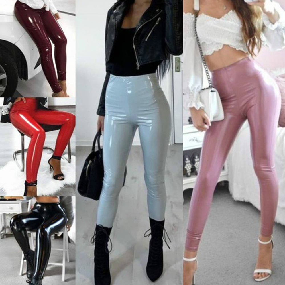 PU Leather Pants Women Autumn Winter Stretch Skinny Pencil Pant 2019 Ladies High Waist Slim Tight Trousers Female Trouser D35