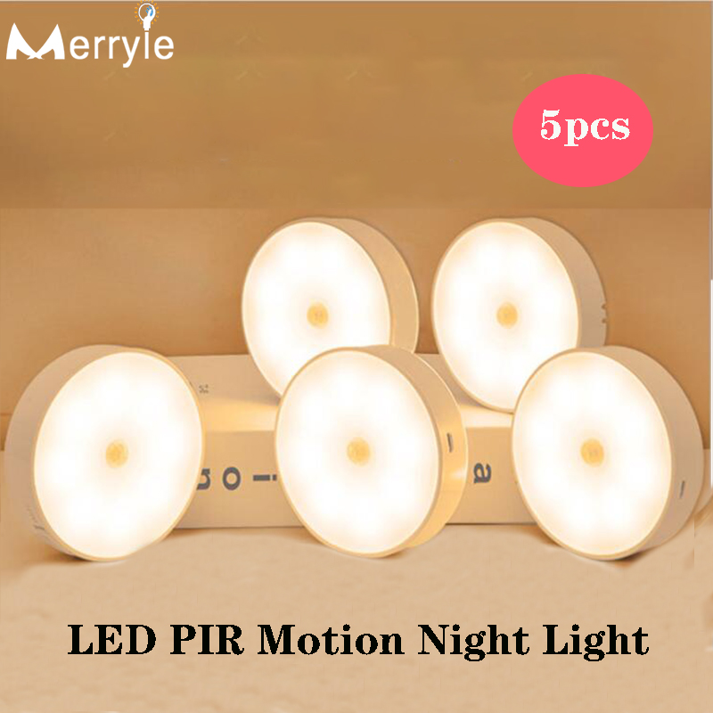 5-10 шт. 700 мА/ч, USB подзарядка светодиодный инфракрасный Сенсор Ночной светильник 8 светильник шарик шкаф настенный светильник для дома Спальн...