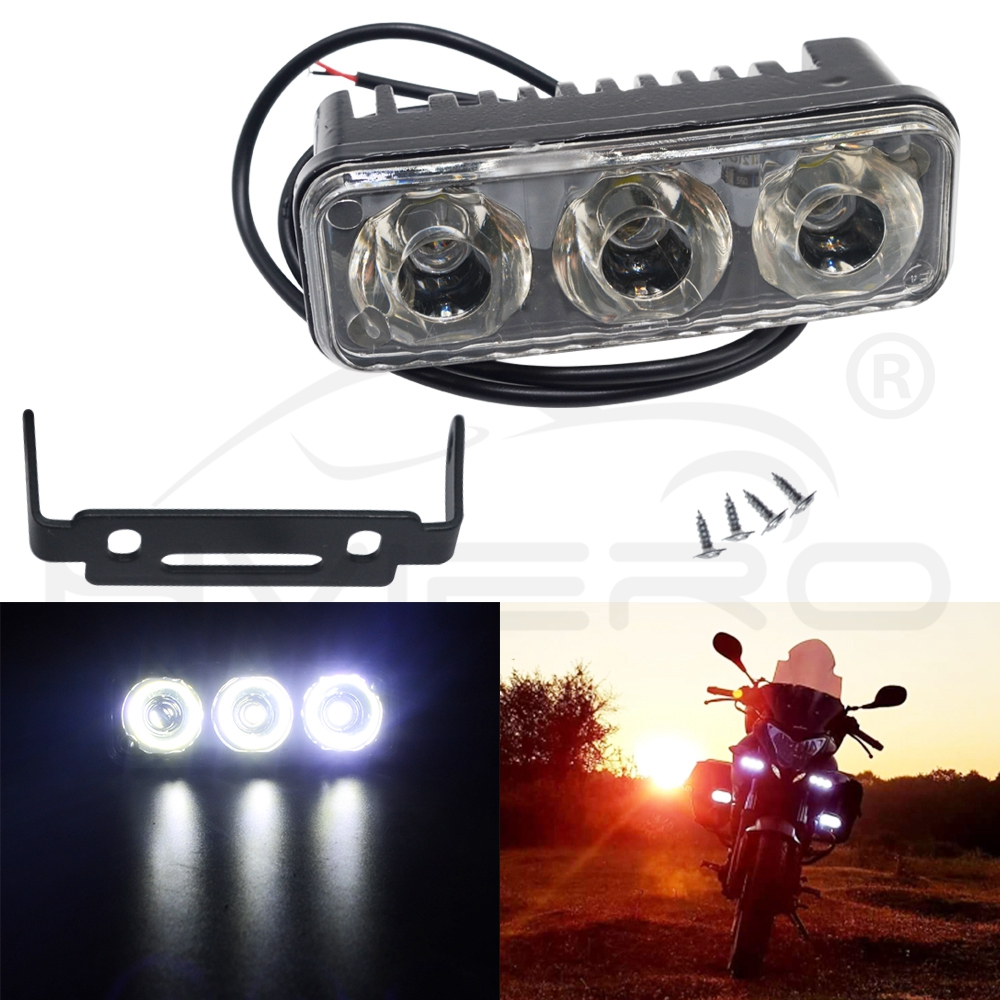 1pcs Super Bright 1200LM Daytime Running Light Lamp White Flash 3 LED 12W Xenon  Fog Driving Motorcycle Lamp