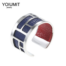 Cremo Argent Adjustable Silver Rings stainless steel Hand Open Finger For Women Interchangeable Leather Bague
