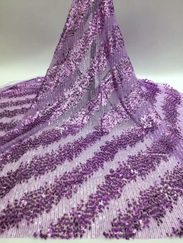 5yards shining african net tulle lace fabric with sequins and beads  for wedding or party dress  good quality  RFDE292