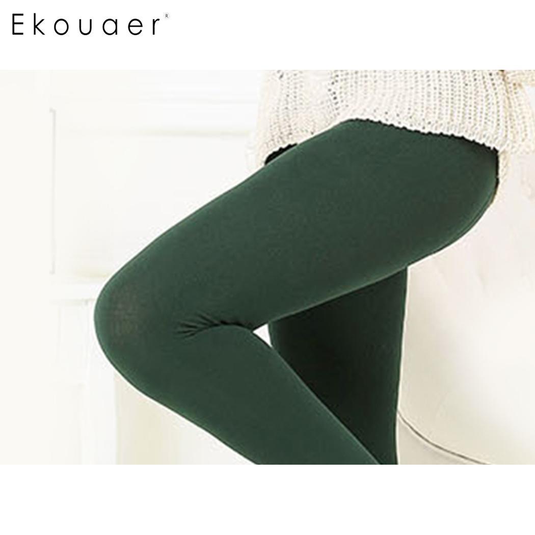 Ekouaer Women Casual Solid High Waist Stretchy Leggings Full Length Casua Outdoo Running Pants Bottom Pants Legging