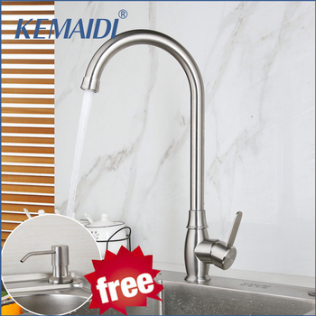 цена на KEMAIDI Kitchen Faucet 360 Degree Rotation Free Soap Dispenser Curved Outlet Pipe Tap Basin  kitchen Sink Faucet Water Mixer
