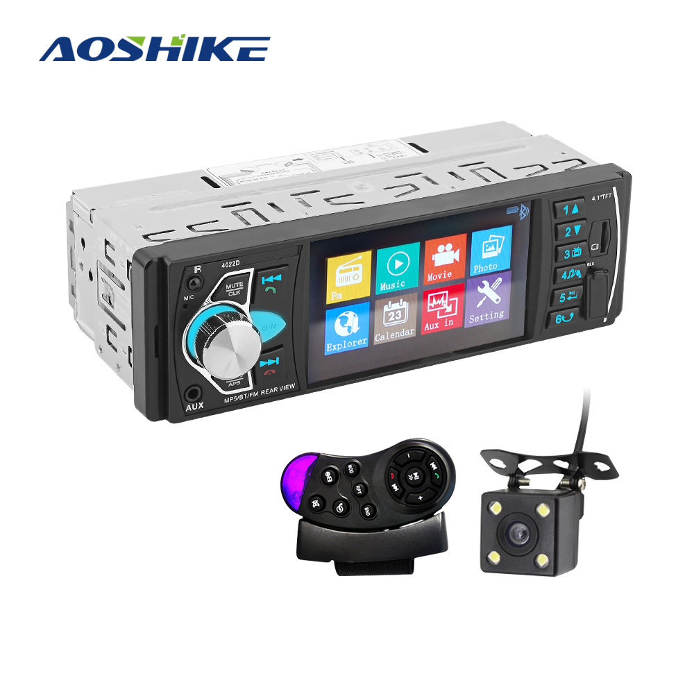 AOSHIKE Car HD 4.1 Inch Bluetooth MP5 Player Reversing Priority FM Radio Card Machine With Steering Wheel Remote Control Review image