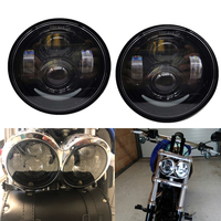 2pcs Round 4.5 inch Motorcycle Headlamp Black Moto Projector DRL Hi/Low beam headlight bulb lamps for Fat Bob FXDF Dyna Fatbob