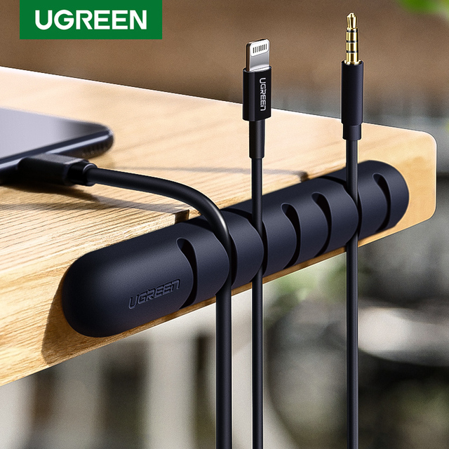 Ugreen Cable Organizer Silicone USB Cable Winder Flexible Cable Management Clips For Mouse Headphone Earphone Cable Holder 1
