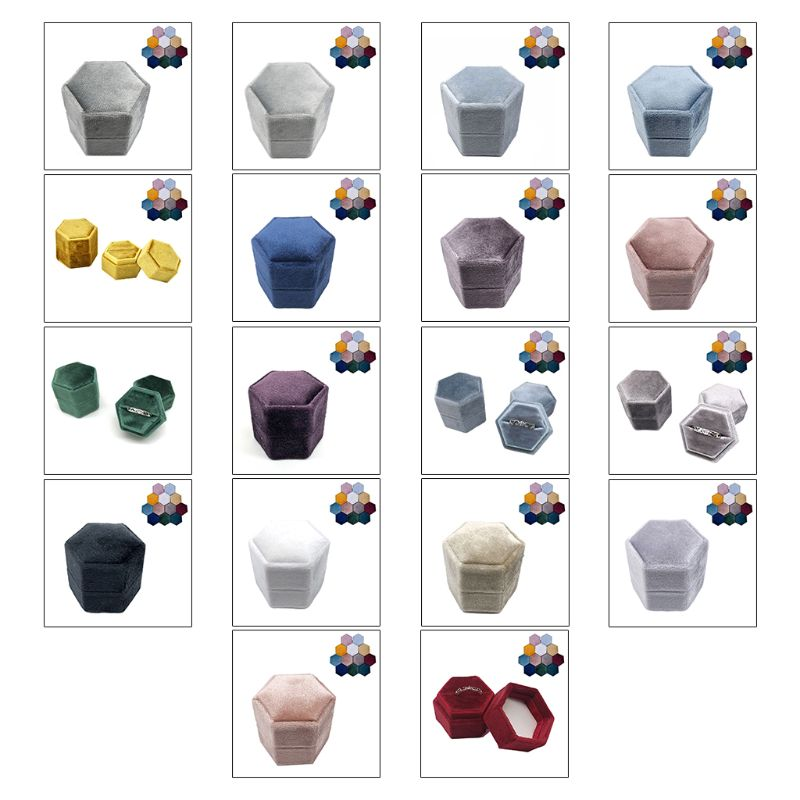 Velvet Single Ring Box Hexagon Valentine's Day Ring Box With Detachable Lid Jewelry Box Storage Zipper Jewelers Friends Gifts