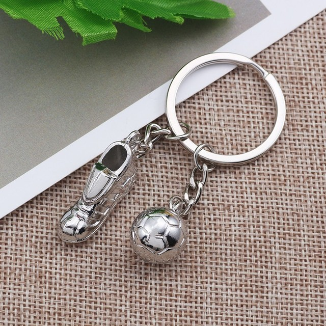 Fashion 3D Silver Football Keychain World Soccer Shoes Key Chain Creative Unisex Sport Jewelry For Fans Souvenir Gifts Chaveiro