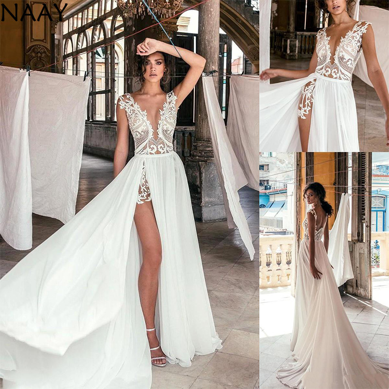 Sexy Deep V Neck Beach Wedding Dresses Side High Slit Lace Appliqued Illusion Bodice Sweep Train Bohomian Wedding Bridal Gowns
