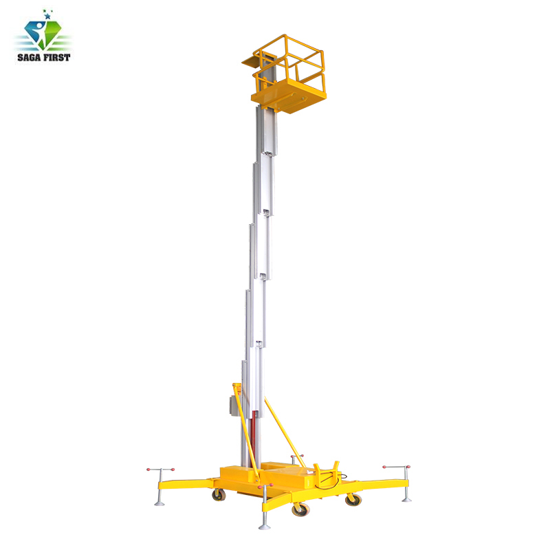 Good Quality  Single Mast Light Weight Electric Hydraulic Aluminum Mast Vertical Man Lift