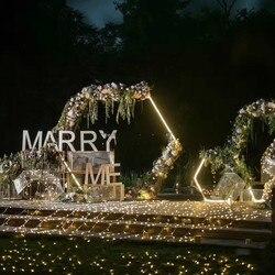 Marco de arco de hierro forjado hexagonal decoración de fondo boda escenario hierro marco boda cumpleaños fiesta suministros boda Accesorios