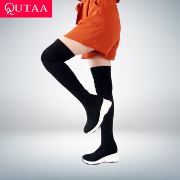 QUTAA 2021 Round Toe Over The Knee Women Boots Autumn Winter Wedge Heel Fashion Casual Shoes Flock Stretch Boot Size 34-43 - discount item  47% OFF Women's Shoes